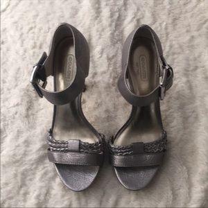 Coach Grey Leather Heels Size 7